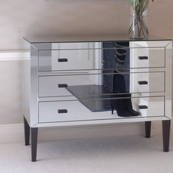 Brighton Chest - I love the mix of ebony painted legs and pulls with the mirrored body of this chest.