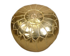 Metallic Gold Moroccan Leather Pouf - This is a gold Moroccan pouf. Need I say more?