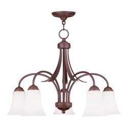 Livex Lighting - Livex Lighting 6476 Ridgedale 17.75 Inch Tall Down Lighting 1 Tier Chandelier - Livex Lighting 6476 Ridgedale Five Light One Tier Down Lighting ChandelierShowcasing long graceful arms, genuine hand blown glass, and leaf like accents with a decorative finial, the Ridgedale five light down light chandelier makes a great addition to enhance the look of any room. This versatile light can be installed semi-flush with the ceiling or with the included chain.Livex Lighting 6476 Features: