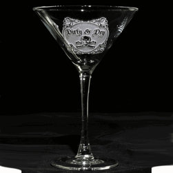 "Crystal Imagery, Inc. - Dirty and Dry Martini Cocktail Glass Set of 4 - Tell just how you like it with these artfully engraved ""dirty and dry"" martini glasses. Elegant flourishes and a skull and crossbones add some bad-girl flair to your preferred guilty pleasure. A fun conversation piece for parties."