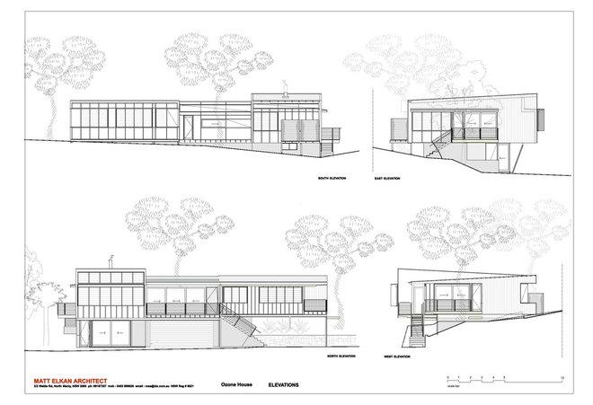 Exterior Elevation by Matt  Elkan Architect