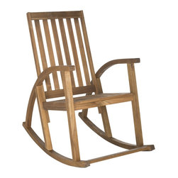 Safavieh - Safavieh Clayton Teak Finish Brown Acacia Wood Rocking Chair - The Clayton rocking chair updates a time-proven country porch classic with new contemporary bentwood sides.