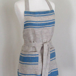 LIthuanian Linen Blue Striped Apron by Attitude and Apron - This is an elegant apron made out of linen. The pockets also really come in handy.