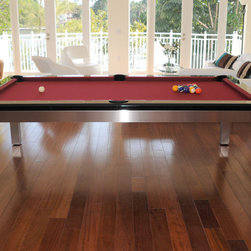 Tribeca Hollywood Stainless Pool Table Ocean View - 8ft Stainless Steel Dining Pool Table.