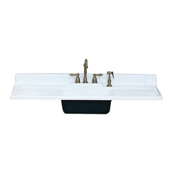 "Consigned 50"" 1953 Refinished Cast Iron Single Basin Double Drainboard Farm Sink - 1953 Industrial Refinished Cast Iron Single Basin Double Drainboard Farmhouse Sink 50"""