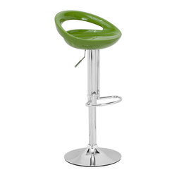 ZUO MODERN - Tickle Barstool Green - Smiling and laughing, the Tickle barstool has a sculpted ergonomic seat made of ABS plastic. This stool is adjustable from counter to bar height with a chrome steel base and footrest.