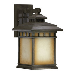 Quorum Lighting - Quorum Lighting Denmark Traditional Outdoor Wall Sconce X-54-1637 - This Mission-style Quorum Lighting Denmark Traditional Outdoor Wall Sconce is a bold and handsome piece. It has a stunning frame in a Baltic granite finish that perfectly complements the Etruscan shade with amber accents. It's an attractive, 14-inch-tall piece that will definitely cast a a warm and natural hue of light in most any space.