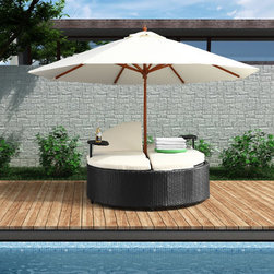 Grandin Road - Cape Orange Double Outdoor Chaise Lounge Chair - Outdoor seating pod consisting of an oval-shaped double lounger and matching umbrella. Espresso polyurethane over aluminum frame in a basketweave texture. Weather-resistant white cushions are included. Seats face each other, so occupants can converse. Attached tables provide handy surfaces for books or drinks. Share sunny days with someone special. Our Cape Coral Double Chaise Longue is perfect for romantics, or those who want to maximize a small outdoor space. Opt for the umbrella, if shade is key, or remove it to bask in the sun. Either way, you can choose a comfortable seat angle-then read, sunbathe or talk until sundown.  .  .  .  .  . Imported .
