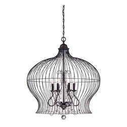 Savoy House - Birdcage 6 Light Pendant - A vintage birdcage has modern sophistication with the addition of sparkling crystals in this Savoy House boutique pendant.