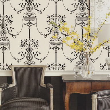 Stroheim Adam Style Wallpaper - This intricate design looks modern in stark black and white. Find it in the Plimco Road Collection by Stroheim at AmericanBlinds.com