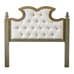 Uttermost - Uttermost - Radcliff King Headboard In Aqua Blue - 23701 - Diamond tufted, ivory linen with antique brass nails accenting solid mahogany posts and frame that is hand finished in distressed charcoal with honey undertones. French cleat wall attachment.