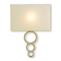 Kathy Kuo Home - Kent Champagne Leaf Hollywood Regency Modern Ring Sconce - The modern simplicity and clean lines of this Hollywood Regency wall sconce brings understated elegance to your home.  Hang a pair of these beauties in your contemporary living space with a white shag rug underfoot and kick back with a gin and tonic.  Your job is done - glamorously.