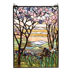 Meyda - 22 Inch Width x 30 Inch Height Tiffany Magnolia Windows - Color theme: Bapa Purple/Blue Pink Jana Japb Avocado Purple/Blue
