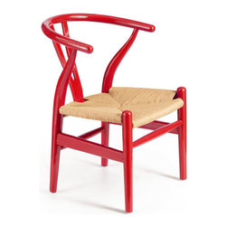 ZUO - Baby Grant Chair - Red & Natural Wicker - Curving elm wood arms give the Baby Grant Chair's retro charm a sinuous edge. Features a comfortable wicker seat. In cherry red or sweet avocado shine, this chair makes any room more delicious.