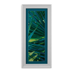 Bassett Mirror - Bassett Mirror Framed Under Glass Art, Fan Palm II - Hang this large piece almost anywhere in your home to bring some color and depth into a plain space. This piece, part II of the Fan Palm series, showcases a spectrum of blues and greens, tactfully surrounded with a dark aqua matte, and then covered with glass in a 3-inch contemporary white frame. Hang it on its own or along with its sister piece, Fan Palm I.