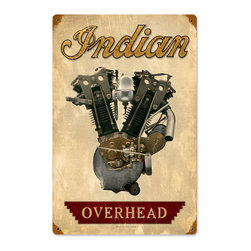 Past Time Signs - Indian Engine Vintage Metal Sign - This vintage metal sign is hand made with pride in the USA using heavy gauge American steel. The high-resolution graphics are sublimated and powdercoated for a long-lasting durable finish. Then, it's worked over by hand to give it that vintage look and feel. It's perfect for your %customfield:genre% Man Cave, Game Room, Office, or anywhere you want to show love for your favorite things.