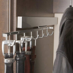 Deluxe Sliding Belt Rack - Rack with seven hooks slides out for easy access to belts, scarves, or any other accessories you can hook. Also available in several other finishes, and in tie-holding models. Great for father's day or any new closet renovation.