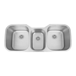 "46"" Infinite Offset Triple-Bowl Stainless Steel Undermount Sink - Make multitasking a breeze with this triple-well undermount sink, which features two larger basins and a middle prep sink. Handcrafted of 18-gauge stainless steel."