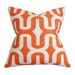 The Pillow Collection - Jaslene Geometric Pillow Orange - With a unique style, this fine throw pillow features a vibrant shade that will turn your living space from boring to exciting. The accent pillow comes with a geometric pattern in orange and white. Set this up anywhere inside your home where it needs dimension and comfort. Constructed with 100% plush cotton material and proudly made in the US. Hidden zipper closure for easy cover removal.  Knife edge finish on all four sides.  Reversible pillow with the same fabric on the back side.  Spot cleaning suggested.
