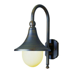 "Trans Globe Lighting - Trans Globe Lighting 4775 RT Santa Isabel 18"" Outdoor Wall Light - A truly vintage look in turn of the century traditional street light charm. Goose neck lamp arm with flared bell shades. Industrial era outdoor fixture. Very functional."