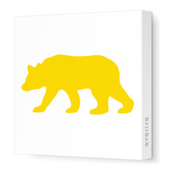 "Avalisa - Silhouette - Bear Stretched Wall Art, 28"" x 28"", Yellow - ""Bear"" walls? Start your own silhouette statement wall with this bear silhouette. Ready-to-hang stretched canvas wall art is a fun way to introduce animal shapes to future nature lovers."