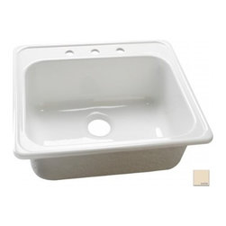 "Lyons Industries - Kitchen Sink, 25""L x 22""W Single Bowl Acrylic 9"" Deep, Three Faucet Holes, Almon - Lyons Industries Single Bowl Almond acrylic kitchen sink 9"" deep with three faucet holes. This standard self rimming 25"" x 22"" sink is easy to install as a remodel or new construction project. This sturdy sink has durable easy to clean high gloss acrylic construction with a fiberglass reinforced insulation backer. This sink is quiet and provides a superior heat retention than other sink materials meaning your dish water stays warm longer. Lyons sinks come with a simple mounting tab and clip system to firmly fasten the sink to the countertop and reinforced drain areas for safely supporting a garbage disposal. Detailed installation instructions include the cut-out specifications. Lyons sinks are proudly Made in America by experienced artisans supporting our economy."