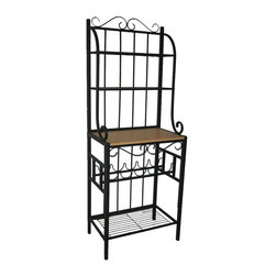 Boraam - Praha Bakers Rack w Five Bottle Storage & Bla - This kitchen, pantry & dining area essential has no rivals for versatility, elegant design and quality. Praha collection piece can store bottles, hold treasured collectibles and books - and look great doing it, too! All steel rack finished with black powder coat. Delicate scroll work on top and front. Five wine bottle storage shelves. Made from Steel RTA. MDF shelf with PVC veneer surface. Black powder coated finish. 16 in. D x 25 in. W x 68 in. H