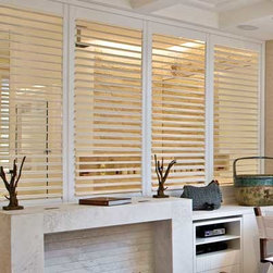 Blinds.com Vertical Blind Alternatives - Track Fauxwood Shutter. Whites and off- - Track Fauxwood Shutter - Buy with Confidence, Get Free Samples Today!Do you have a patio or sliding glass window and want something more than a common vertical?  Our By-Pass Track Fauxwood Shutters is the perfect choice.  Each shutter panel hangs from an easy to install vertical track and slides past each other to open and