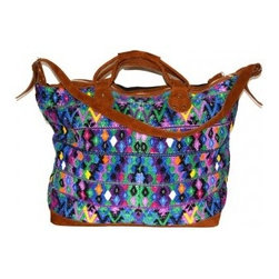 Isabel Weekender - The vibrant pattern and weave make this the ultimate weekend bag. With a zip pocket in front and velvety suede handles, this bag makes for easy traveling. The main zip opens to a lined interior with a small zip pocket.