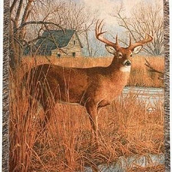 `His Side of the River` Deer Print Tapestry Throw Blanket 50 Inch X 60 Inch - This multicolored woven tapestry throw blanket is a wonderful addition to your home or cabin. Made of cotton, the blanket measures 50 inches wide, 60 inches long, and has approximately 1 1/2 inches of fringe around the border. The blanket features a print of a 10 point buck at the edge of a river. Care instructions are to machine wash in cold water on a delicate cycle, tumble dry on low heat, wash with dark colors separately, and do not bleach. This comfy blanket makes a great housewarming gift that is sure to be loved.