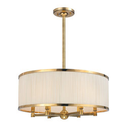 Hudson Valley - 6 Light ChandelierHastings Collection - A lavish span of finely gathered natural silk enwraps the warm glow of our Hastings pendant. The gathered quality of the rich material's soft pleating is emphasized by the contrasting smoothness of the shade's cast metal rings. Reeded arms echo the silk