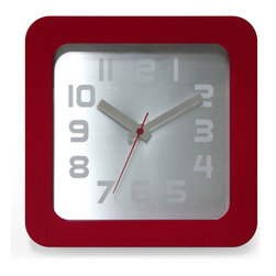 Infinity Instruments, Ltd. - Infinity Instruments Times Squared, Red - Infinity Instruments Times Squared is a home essential wall / tabletop clock. This clean smooth design clock will work for most modern / contemporary home décor.
