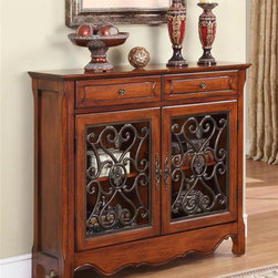 Powell Furniture - 41 in. Console Cabinet w 2 Doors - Two drawers. Expertly crafted with delicate pewter scrolls. Rich pewter knobs. Made from MDF, brown lining, solid wood slide rail and poplar. Light cherry finish. No assembly required. Interior dimensions: 38 in. W X 9 in. D X 24 in. H. 41 in. W x 11 in. D x 36 in. H (72 lbs.)The perfect addition to any room. Its compact design makes this the perfect piece to add to an entry or living space.