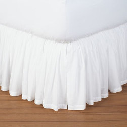 Voile Bed Skirt - Sometimes a ruffled or gathered bed skirt can look kind of fussy, but they definitely have their place (a feminine guest room, a young girl's room, etc.) and can be very pretty. The gathers are more forgiving too, which is something to consider if a slightly crooked flat skirt would drive you crazy.