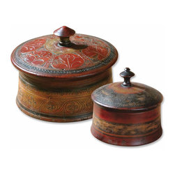 Uttermost - Sherpa Decorative Boxes, Set of 2 - These decorative boxes are finished in hues of red and brown with etched details. Removable lids. Sizes: Sm-7x6x7, Lg-9x8x9