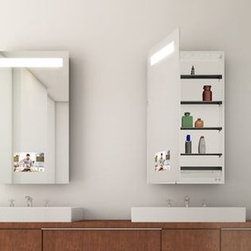 """Medicine Cabinet Options from Electric Mirror - The Re-Creation Mirrored Cabinet is a luxury fixture that highlights perfect horizontal lighting, a 15"""" HDTV, and an ultra-sleek cabinet door."""