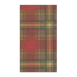 """Frontgate - Caspari Highland Guest Towels - Highland Plaid design. Ideal as guest towels or buffet napkins. Look of cloth yet disposable for easy clean-up. Each set contains 30 towels. Environmentally friendly biodegradable materials. Set the table or stock the guest bath with guest towels steeped in Scottish Highland fashion. The plaid design is printed in traditional holiday colors of green, gold, and red to bring a festive air to gatherings.  crafted of biodegradable, triple-ply tissue that is both ultra-absorbent and environmentally friendly. These towels have the look of cloth, yet can be tossed in the trash for quick and easy clean-up.  .  .  .  .  . Crafted of soft and absorbent triple-ply tissue . FSC certified pulp and water based dye materials . Measures 13"""" x 16"""" open . Imported"""