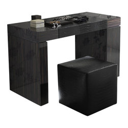 Rossetto - Rossetto Nightfly Dressing Table in Ebony - Rossetto - Bedroom Vanities - T412700000003 - A vanity unit with meticulous details where everything is in its place and concealed from prying eyes.  Pull out tall unit with accessory compartments and removable jewelry box.