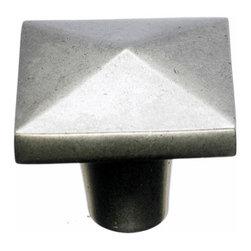 "Top Knobs - Aspen Square Knob 1 1/2"" - Silicon Bronze Light - Width - 1 1/2"", Projection - 1 3/8"", Base Diameter - 1/2"""
