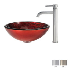 Kraus - Kraus Charon Glass Vessel Sink and Ramus Faucet Satin Nickel - *Add a touch of elegance to your bathroom with a glass sink combo from Kraus