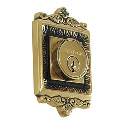 Nostalgic Warehouse - Nostalgic Egg and Dart Double Cylinder Deadbolt Keyed Alike in Antique Brass - With its distinctive repeating border detail, as well as floral crown and foot, the Egg and Dart Double Cylinder Deadbolt in antique brass resonates grand style. Keyed alike. Made of solid (not plated) forged brass for durability and beauty.
