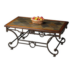 Butler Specialty - Butler Specialty Metalworks Cocktail Table in Distressed Metal Finish - Butler Specialty - Coffee Tables - 1574025 - Finished metal base. Slate inset top in heavily distressed solid pine frame.
