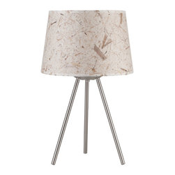 Lights Up! - Weegee Small Table Lamp, Mango Leaf - Style. Function. Simplicity. You've hit the trifecta with this modern table lamp. The tripod base is made of brushed nickel and holds one bulb beneath the tapered drum shade that comes in several colors and patterns to work in your room.