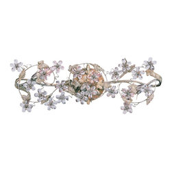 "Crystorama - Crystorama Crystal Flower Vine 25"" Wide Bathroom Light - Let your decor bloom with this fabulous floral design fixture. Crafted with wrought iron and studded with hand-cut crystal this piece is sure to enhance your bath. This bathroom wall light features an antique white finish. A wonderful choice from Crystorama. Antique white finish. Hand-cut crystal. Wrought iron construction. Takes three 60 watt candelabra bulbs (not included). 10"" high. 25"" wide. Extends 6"" from the wall.  Antique white finish.   Hand-cut crystal.   Wrought iron construction.   Takes three 60 watt candelabra bulbs (not included).   10"" high.   25"" wide.   Extends 6"" from the wall."