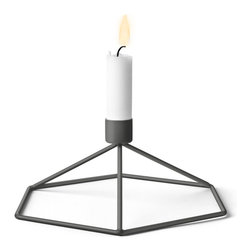 MENU - POV Table Candleholder, Warm Grey - POV Candle Holder is a light, smart and playful product that can be used as a single piece or in a group. Beautiful on its own and stunning as graphical patterns on the wall or on the table.