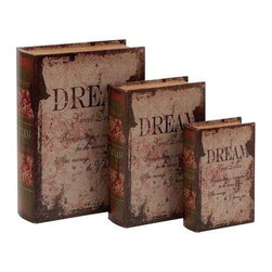 "BZBZ59378 - Leather Book Box with Vintage Design - Set of 3 - Leather Book Box with Vintage Design - Set of 3. This one takes the cake when it comes to looking real and elegant as a leather wooden book box. It comes with a following dimension 10""W x 3""D x 13""H. 8""W x 2.5""D x 11""H. 6""W x 2""D x 8""H."