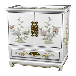 Oriental Furniture - Empress Lacquer Jewel Box (White) - This elegant lacquered jewelry box was handcrafted by artisans in the Guangdong province of mainland China. The excellence of their craft is evident in the delicate mother of pearl flowers, the carefully fitted carpentry, and the rich, smooth lacquer finish. The doors open to reveal four additional felt lined drawers and hooks for hanging your pendants and necklaces.