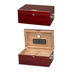 Quality Importers - Tuscany Cigar Humidor - The Tuscany Cigar Humidor with high gloss cherry finish opens and closes smoothly on hidden quadrant hinges. Features gold-plated lock and key with tassel  engraveable brass nameplate  plus: Holds up to 100 Cigars  1 Large Rectangle Humidifier  1 Glass Hygrometer with Brass Frame  SureSeal Technology insures proper lid seal on closure  Spanish Cedar Tray with divider  2 Dividers at Bottom  Lined with premium Kiln-dried Spanish Cedar   Gold Plated Lock & Key with Tassel  Carry Handles and Hidden Quadrant Hinges   Engraveable Brass Nameplate.  This item cannot be shipped to APO/FPO addresses. Please accept our apologies.
