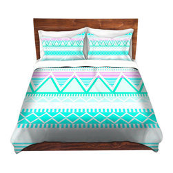 DiaNoche Designs - Duvet Cover Microfiber by Organic Saturation - Bright Turquoise Tribal - DiaNoche Designs works with artists from around the world to bring unique, artistic products to decorate all aspects of your home.  Super lightweight and extremely soft Premium Microfiber Duvet Cover (only) in sizes Twin, Queen, King.  Shams NOT included.  This duvet is designed to wash upon arrival for maximum softness.   Each duvet starts by looming the fabric and cutting to the size ordered.  The Image is printed and your Duvet Cover is meticulously sewn together with ties in each corner and a hidden zip closure.  All in the USA!!  Poly microfiber top and underside.  Dye Sublimation printing permanently adheres the ink to the material for long life and durability.  Machine Washable cold with light detergent and dry on low.  Product may vary slightly from image.  Shams not included.
