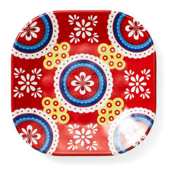 Q Squared NYC - Montecito Red Melamine Appetizer Plate, Icon - Transport your dining table to historical Montecito with the beautiful, vibrant colors of this collection, inspired by the intricate tiles and textures of the romantic city.